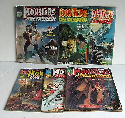LOT Vintage MONSTERS UNLEASHED Comic Book 2 3 4 5 8 9 Marvel Curtis Magazine