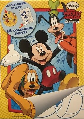 Mickey Mouse Colouring & Sticker Book Boys Kids Activity Set Disney New