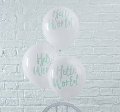 10 HELLO WORLD Balloons Baby Shower Mint White Party Decorations Gender Neutral