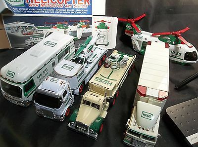e86 Lot of 5 Assorted Hess Holiday Trucks Helicopters Semi Trucks RV Motorcycle