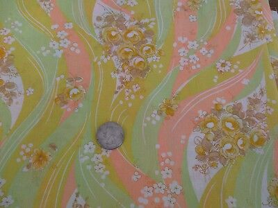 """Vintage Estate Cotton Fabric - Green-Yellow-Peach Floral Print 45"""" wide 3 yards"""