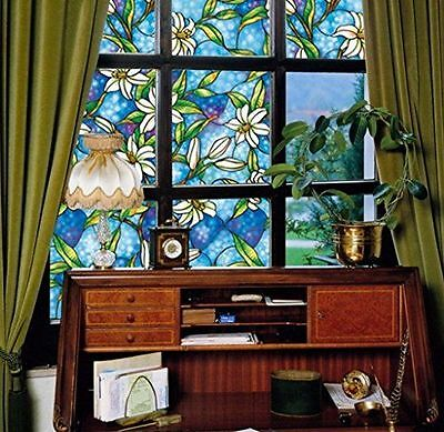 Floral Orchid / Magnolia Decorative Stained Glass Window Film Self Static Adhesi