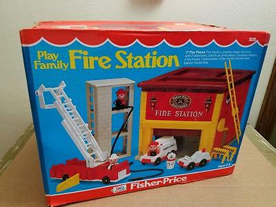 Vintage Fisher Price 928 Play Family 1980 Fire Station New Never Opened Box