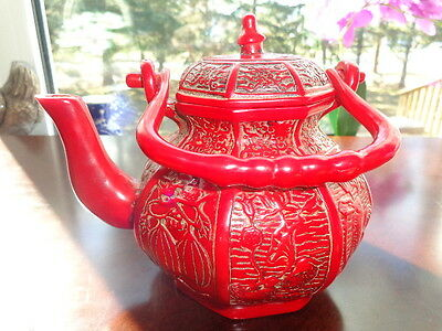 Rare Chinese Collectible Hand Carved Coral Teapot.