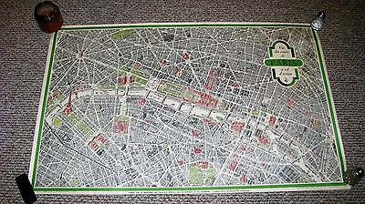vintage map of paris france blondel la rougery 1958