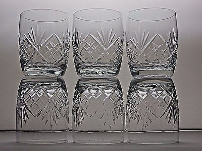Crystal Cut Glass Whiskey Tumblers Whisky Barrel Drinking Glasses Set Of 6