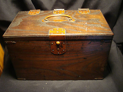 Antique JAPANESE Inkstone Chest 1870 a.d. Abascus SOROBAN Keyaki wood W/ tools