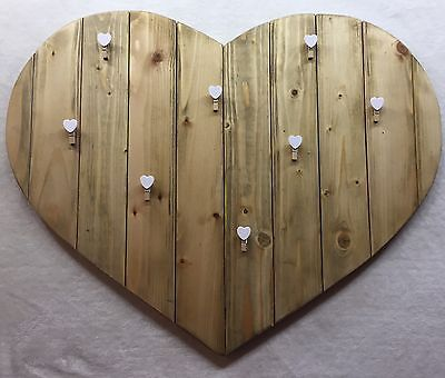 Wall Decoration Wooden Hanging Heart Clip Photo Picture Frame , Large .