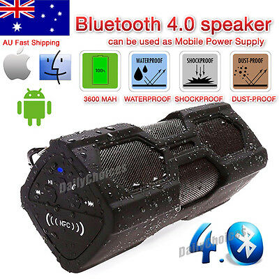 Waterproof Outdoor Bluetooth Mini Portable Speaker Power Bank Mic NFC for iPhone