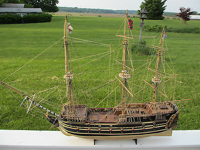 "Vintage Hand Built Wood Sailing 1765 26 Gun War Ship Norse Love 45"" L Model Boat"