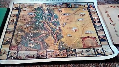 Vintage Rare 1949 Historical Map Of Early Colorado