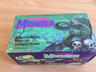 Horror Monster Mechanical Wind-Up Saving Bank Money Box From Early 70 New Boxed