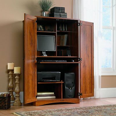 Classic Oak Computer Armoire Desk Sauder Printer Shelf Storage Wood