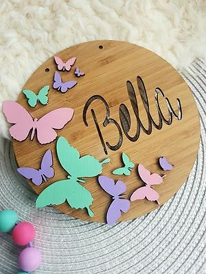 Personalised Children's Wooden Butterfly Coloured Name Sign Plaque