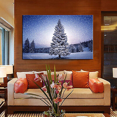 Xmas Tree Winter Modern Abstract Wall Art Print Oil Painting Home Decor Canvas
