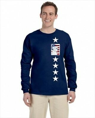 Carolines Treasures SS4036-LS-NAVY-S USA American Flag With Boxer Long Sleeve