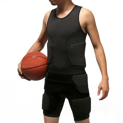 Men Pad Compression Bodysuit Vest Shirt Shorts Rib Protector Football Paintball