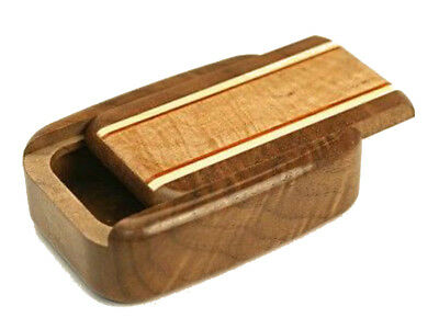 "Wood Pill Box | Burl Maple Inlay | Walnut Wood | 3""L x 2""W x 3/4""D"