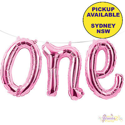 1St First Birthday Party Supplies Pink One Shape Script Foil Balloon Banner