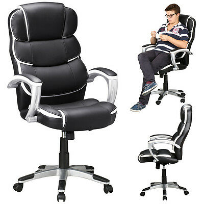 High Back Executive Office Chair PU Leather Computer Desk Task Ergonomic inBlack
