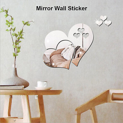 3D Love Hearts Mirror Wall Sticker DIY Removable Decal Art Mural Home Room Decor