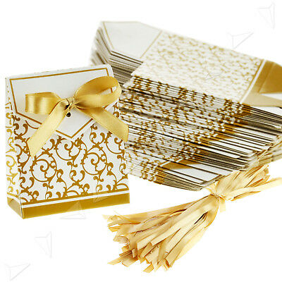 New Creative Gold Ribbon Wedding Favours Party Gift Candy Box 50pcs