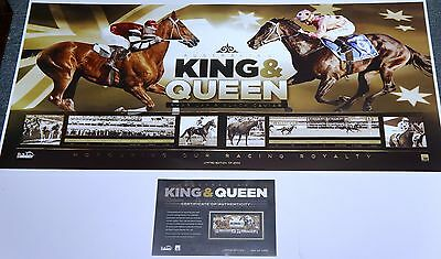 Black Caviar & Phar Lap Print Unframed + Coa - King And Queen Horse Racing Print
