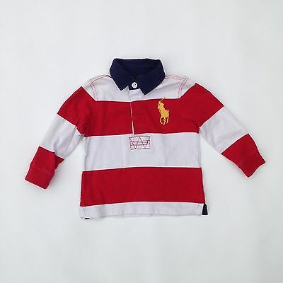Children's Red & White Striped Polo Ralph Lauren Rubgy Shirt | Size 18 Months