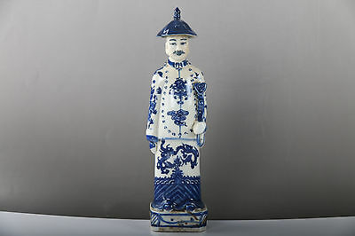 Chinese Blue and white Handwork character Statues j480