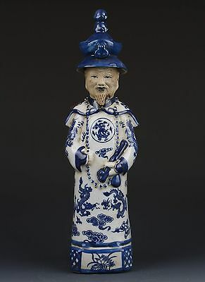 Chinese Blue and White Emperor Statues