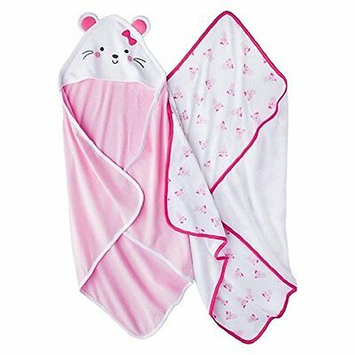 NWT Carter's Just One You Baby Girls 2 Bath 1 Hooded 2 Towels Pink Mouse