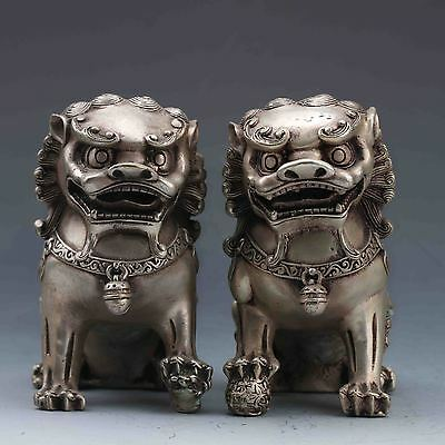 Tibeten Silver Carved A pair of Lions statue