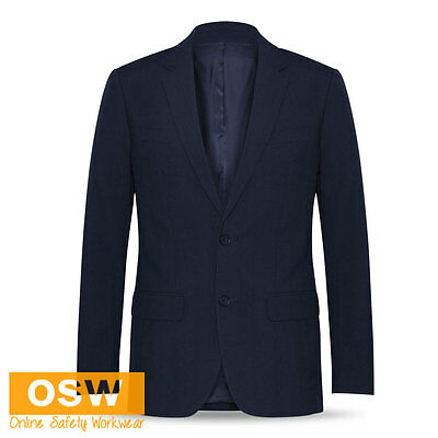 Mens Navy Classic 2-Button Office/Corporate/Business Stretch Jacket Blazer
