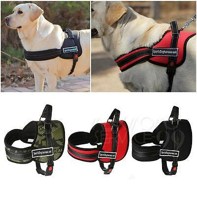 UK Adjustable Soft Padded Non Pull Pet Dog Harness Chest Vest Walking S-L Nylon