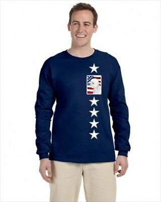 Carolines Treasures SS4249-LS-NAVY-S USA American Flag With Westie Long Sleeve