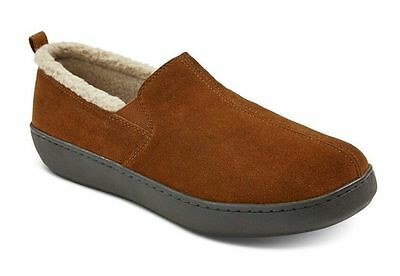 Moccasin Slippers Men's Carson Brown Suede Fleece-Lined Indoor Outdoor Free Ship