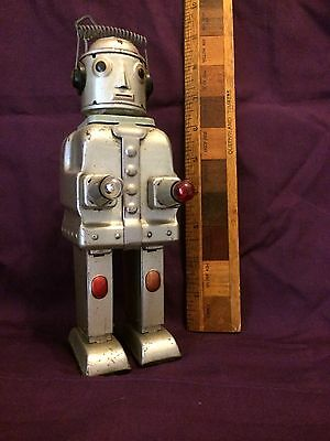 1956 Original Mr Robot The Mechanical Brain Battery Op Alps Japan Tin Toy Works!