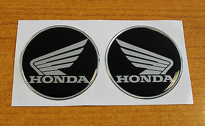 Honda Wings stickers/decals-45mm chrome/black-HIGH GLOSS DOMED GEL FINISH