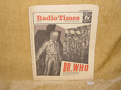 Vtg Ultra Rare Radio Times Southern Edition Aug 31 1967 - Dr Who Cybermen Cover