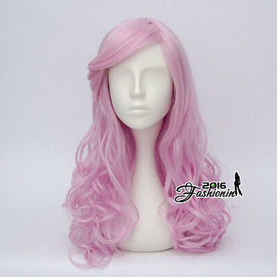 Daily Party 55CM Mixed Light Pink Long Curly Hair Women Lolita Cosplay Fancy Wig