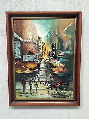 1960's VINTAGE Original OIL PAINTING ART SIGNED TANG PING Chinese Impressionist