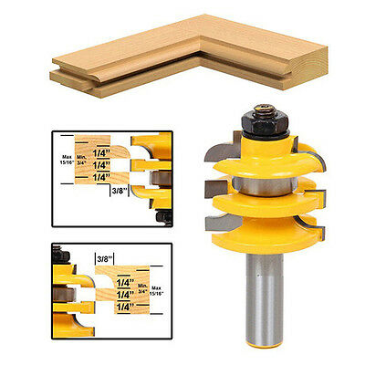 "Stacked Railv Stile Router Bit 1/2"" Shank Blade Cutter Woodworking Hand Tool"