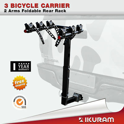 "3 Bicycle Car Bike Carrier Rack 2""Inch Hitch Mount 2 Arms Foldable Rear Lockable"