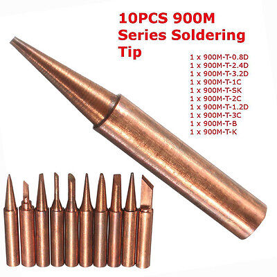 10x 900M-T Series Soldering Solder Tips Pure Copper Electric Iron Head Tool New