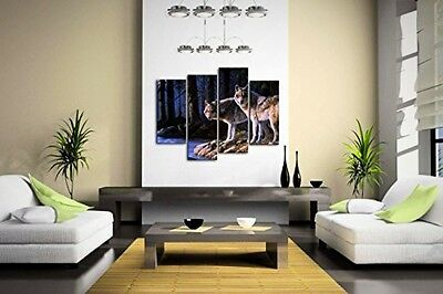 Wall Painting Art Home Decoration Wolf Wood Night 4 Panel Picture Canvals Animal