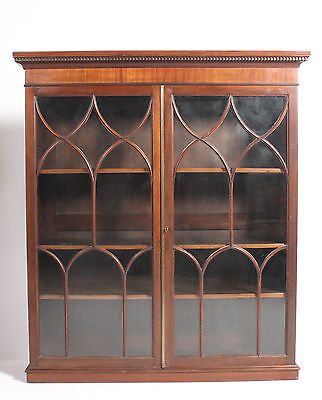 Good C19th Antique Georgian Solid Mahogany Glazed Bookcase Cabinet