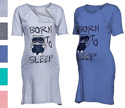 Happy Mama. Women's Maternity Nursing Breastfeeding Nightdress Owl Print. 726p