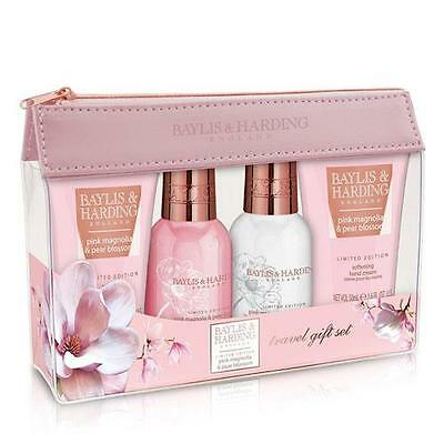 Baylis & Harding Pink Magnolia and Pear Blossom Travel Gift Pack FREE P&P