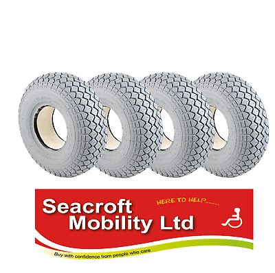 **SOLID**  FULL SET of  4 x 400-5 (330-100)  Mobility Scooter Tyres Grey