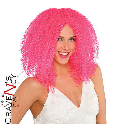 Pink Crimped Clown 80s Wig Halloween Adult Womens Fancy Dress Costume Accessory